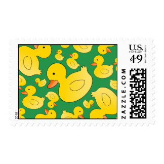 Cute green rubber ducks postage stamp