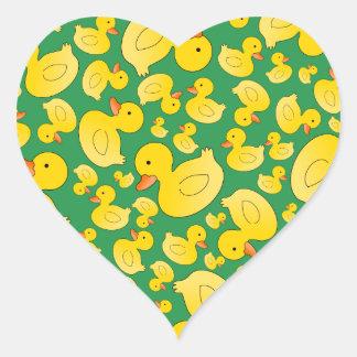 Cute green rubber ducks heart sticker
