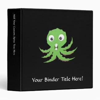 Cute Green Sea Monster 3 Ring Binders