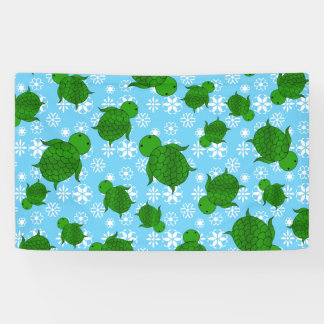 Cute green sea turtle christmas blue snowflakes banner