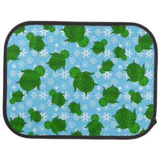 Cute green sea turtle christmas blue snowflakes car floor mat