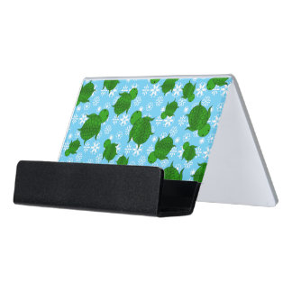 Cute green sea turtle christmas blue snowflakes desk business card holder