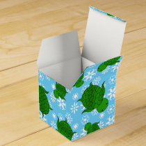 Cute green sea turtle christmas blue snowflakes favor box