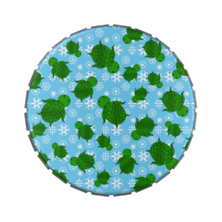 Cute green sea turtle christmas blue snowflakes jelly belly tin