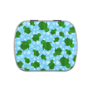 Cute green sea turtle christmas blue snowflakes jelly belly tins