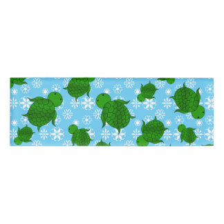 Cute green sea turtle christmas blue snowflakes name tag