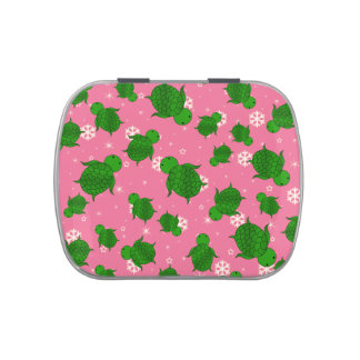 Cute green sea turtle christmas pink snowflakes candy tin