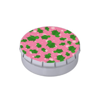 Cute green sea turtle christmas pink snowflakes candy tins