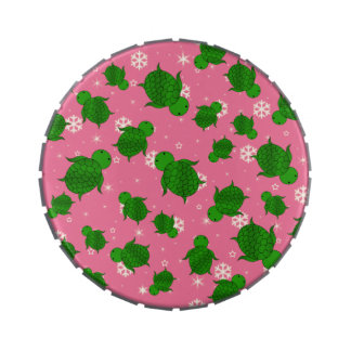 Cute green sea turtle christmas pink snowflakes jelly belly tins