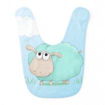Cute Green Sheep Baby Bib