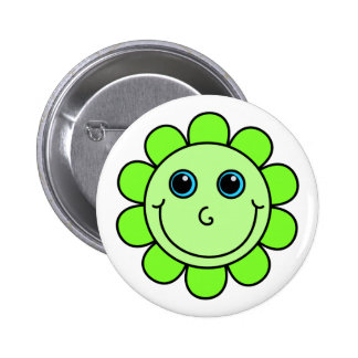 Cute  Green Smiley Face Flower Button