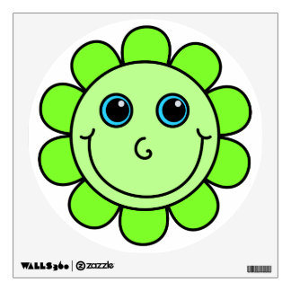 Cute Green Smiley Face Flower Wall Decal