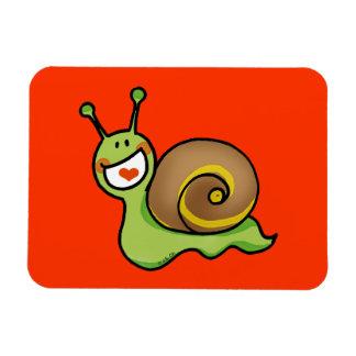 Cute green snail rectangle magnet