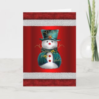 Cute Green Snowman on Red Christmas Card