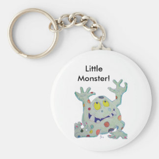 Cute green spotted monster basic round button keychain