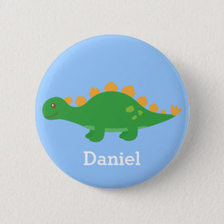 Cute Green Stegosaurus Dinosaur for Kids Button