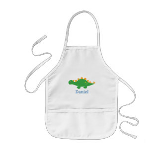 Cute Green Stegosaurus Dinosaur for Kids Kids' Apron
