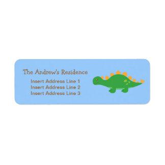 Cute Green Stegosaurus Dinosaur, For kids Label