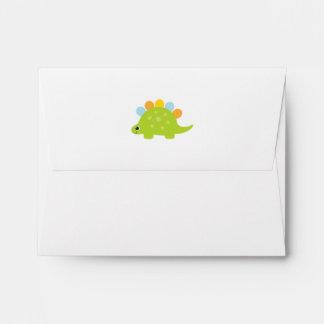 Cute Green Stegosaurus Dinosaur Party Sets Envelope