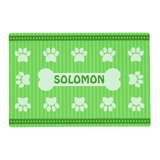 Cute Green Stripes Bone and Dog Paws Double Sided Placemat