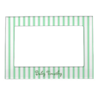 Cute Green Stripes Magnetic Photo Frame