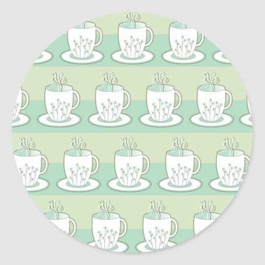 Cute Green Teacup Print Classic Round Sticker