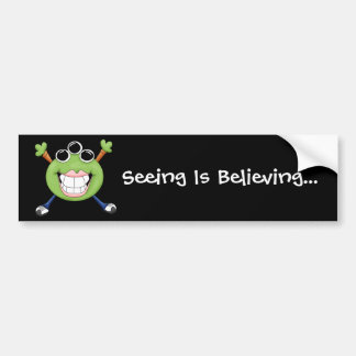 Cute Green Three Eye Alien Cartoon Character Bumper Sticker