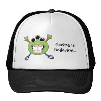 Cute Green Three Eye Alien Cartoon Character Trucker Hat