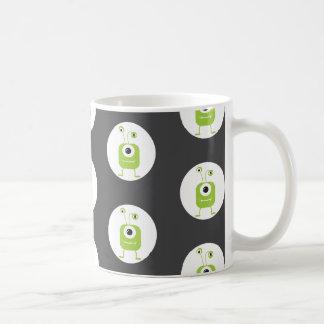 Cute green three eyed monster Halloween Coffee Mug