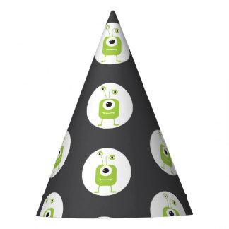 Cute green three eyed monster Halloween Party Hat