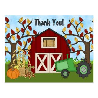 Cute Green Tractor and Barn Autumn Farm Thank You Postcard