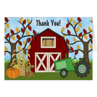 Cute Green Tractor and Barn Autumn Farm Thank You Stationery Note Card