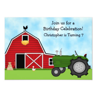 Cute Green Tractor and Red Barn Boys Farm Birthday Invitation