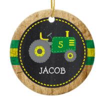 Cute Green Tractor Birthday Keepsake Faux Wood Ceramic Ornament