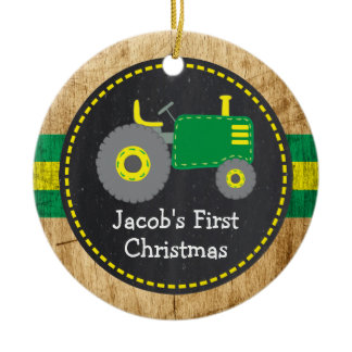 Cute Green Tractor First Christmas Faux Wood Ceramic Ornament