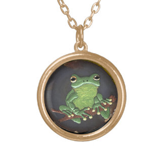Cute Green Tree Frog Animal-lovers Gift Round Pendant Necklace
