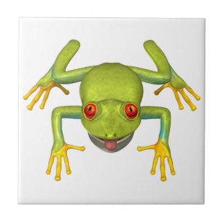 Cute Green Tree Frog Ceramic Tile
