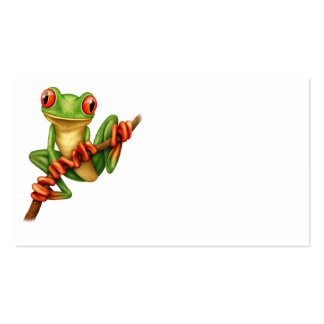 Cute Green Tree Frog on a Branch Business Card
