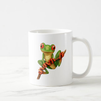 Cute Green Tree Frog on a Branch Coffee Mug