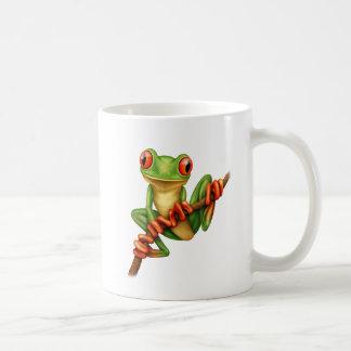 Cute Green Tree Frog on a Branch Coffee Mug