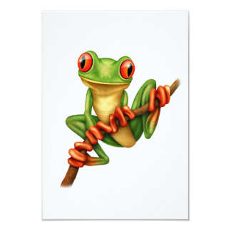 Cute Green Tree Frog on a Branch 3.5x5 Paper Invitation Card