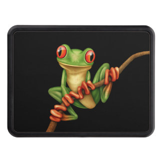 Cute Green Tree Frog on a Branch on Black Tow Hitch Covers