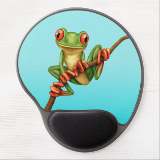 Cute Green Tree Frog on a Branch on Blue Gel Mouse Pad