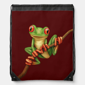 Cute Green Tree Frog on a Branch on Red Backpacks