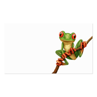 Cute Green Tree Frog on a Branch on White Business Card