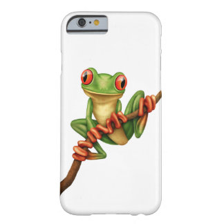 Cute Green Tree Frog on a Branch on White Barely There iPhone 6 Case