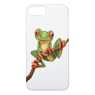 Cute Green Tree Frog on a Branch on White iPhone 7 Case
