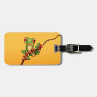 Cute Green Tree Frog on a Branch on Yellow Bag Tag