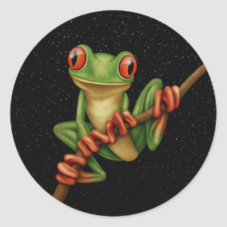 Cute Green Tree Frog on a Branch with Stars Round Stickers