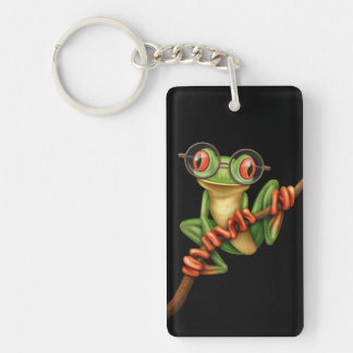 Cute Green Tree Frog with Eye Glasses on Black Keychains